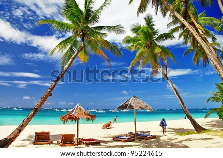 romantic  tropical vacation - stock photo