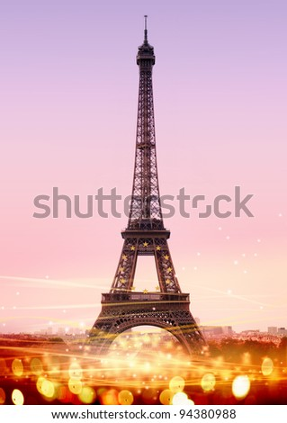 romantic twilight in Paris, with the Eiffel Tower - stock photo