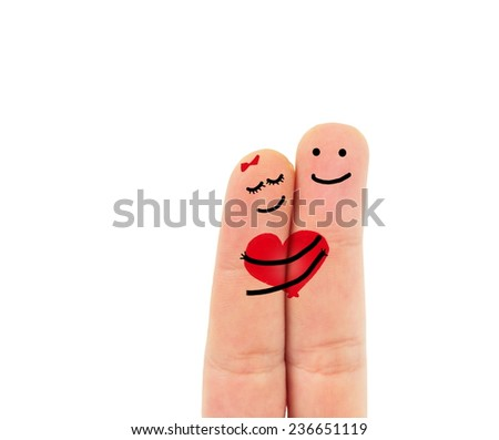 romantic two fingers in love - stock photo