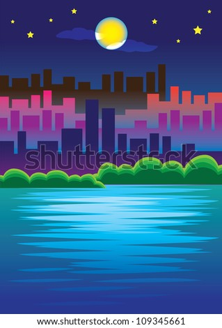 Romantic Urban Scene of City skyline in the Moonlight Vector Illustration. Vector illustration of city skyscrapers with water in foreground against moonlight in background. - stock photo