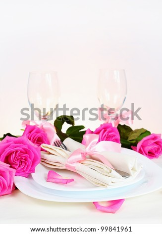 Romantic Valentine Dinner for Two Lovers Vertical - stock photo