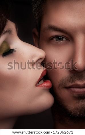 romantic valentine kissing couple - stock photo