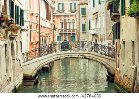 Romantic Venetian bridge in residential part of Venice