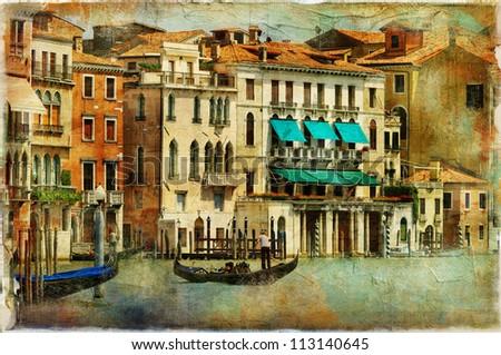 romantic Venice - artwork in painting style - stock photo