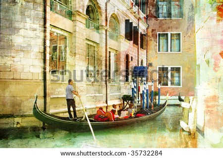 romantic Venice- artwork in painting style - stock photo