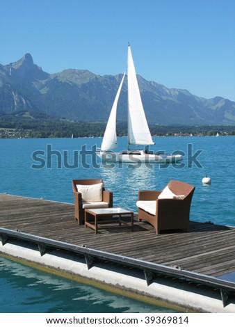 Romantic view to the lake Thun, Switzerland - stock photo