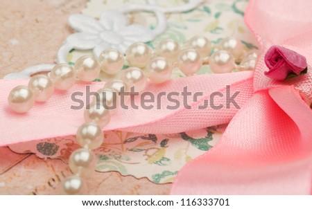 romantic vintage background with handmade rose closeup - stock photo