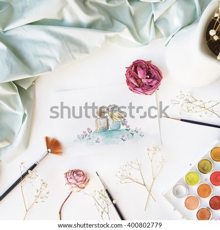 Romantic watercolor painting of boy and girl, brushes, roses and mint sheet and branches isolated on white background. Flat lay. Overhead view, top view - stock photo