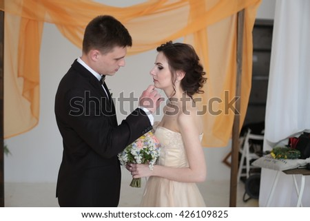 romantic wedding couple in luxury interior