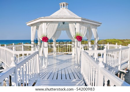 Romantic wedding gazebo near the ocean in the Caribbean, Cuba - stock photo