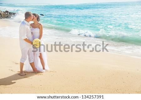 romantic wedding on the beach, bali - stock photo