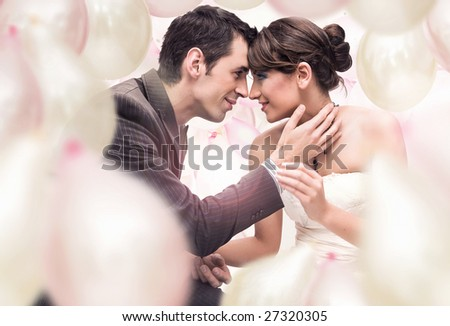 Romantic wedding picture - stock photo