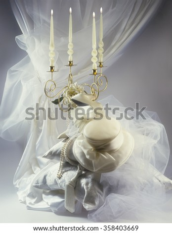 romantic wedding set  - stock photo
