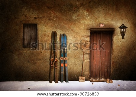Romantic winter scene - stock photo
