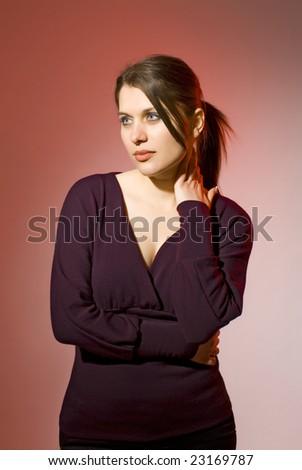 romantic woman - stock photo