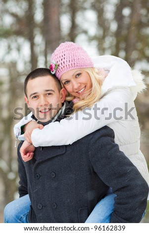 Romantic young couple enjoying winter day
