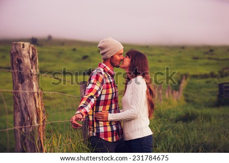 Romantic Young Couple in Love Outdoors - stock photo