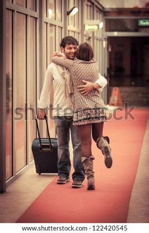 Romantic Young Couple Met after Long Time - stock photo