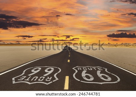 Romanticized rendition of Route 66 crossing a dry lake bed in the vast Mojave desert.   - stock photo
