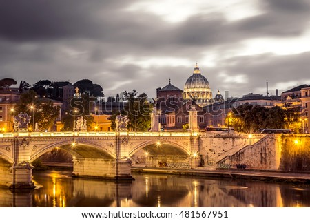 Rome and Vatican, cityscape at night, with St peter's basilica and bridge over the river Tiber. Artistic surreal edit.