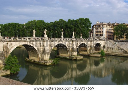 Rome Angels Castle Bridge.  River Tiber near Vatican.