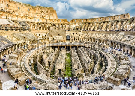 ROME - APRIL 2, 2016 - Interior of the Flavian Amphitheatre, aka Colosseum, iconic symbol of Imperial Rome, as seen on April 2, 2016. - stock photo