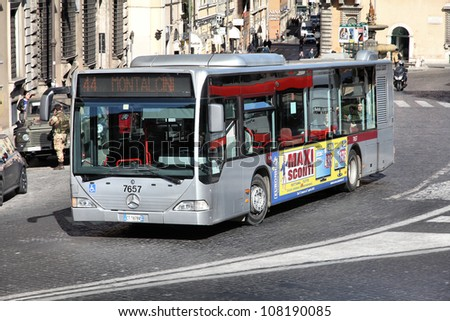 ROME - APRIL 10: Mercedes bus of ATAC on April 10, 2012 in Rome, Italy. ATAC is main bus operator in Rome. With 350 bus lines and 8000 bus stops, it's one of largest bus operators in the world. - stock photo