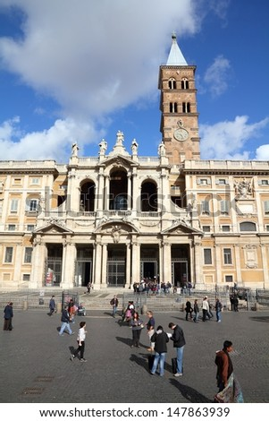 ROME - APRIL 8: People visit famous Santa Maria Maggiore basilica on April 8, 2012 in Rome. According to Euromonitor, Rome is the 3rd most visited city in Europe (5.5m int'l tourist arrivals 2009)