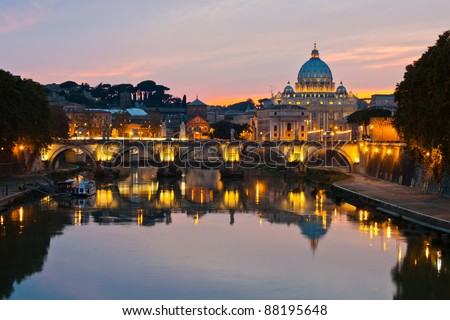Rome at dusk: Saint Peter's Basilica after sunset. - stock photo