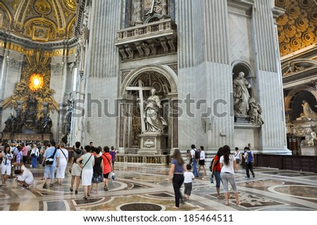 ROME-AUGUST 10: Interior of the St. Peter's Basilica on August 10, 2009 in Vatican. Saint Peter's Basilica, is a Late Renaissance church located within Vatican City. - stock photo