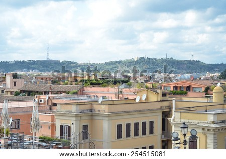 ROME - AUGUST 27, 2014: Panorama of Rome, top view, Rome, Italy