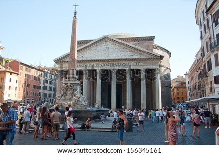 ROME-AUGUST 6: The Pantheon on August 6, 2013 in Rome, Italy. The Pantheon is a building in Rome, Italy to all the gods of ancient Rome rebuilt by the emperor Hadrian about 126 AD. - stock photo