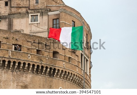 Rome -  Castel Sant'Angelo, Castle of the Holy Angel built by Hadrian in Rome, along Tiber River - stock photo