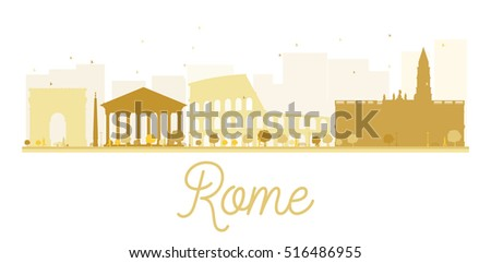 Rome City skyline golden silhouette. Simple flat concept for tourism presentation, banner, placard or web site. Business travel concept. Cityscape with landmarks