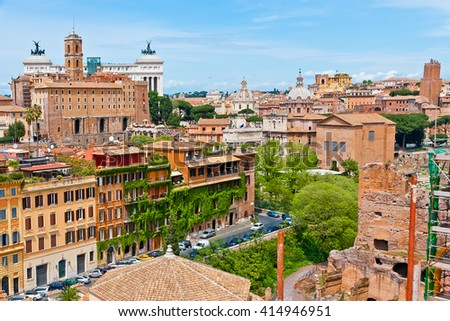 Rome cityscape with Monument of Victor Emmanuel II view. - stock photo