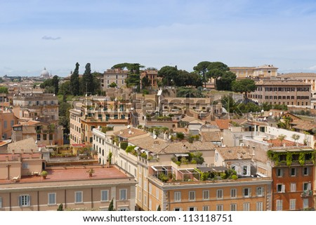 Rome cityscape with view of Basilica of Saint Peter.