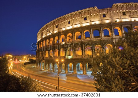 Rome Colloseum by Night Italy - stock photo