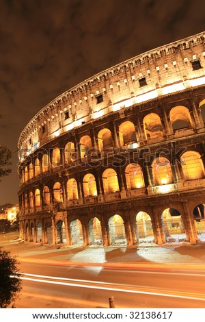 Rome: Colosseum and traffic light trails