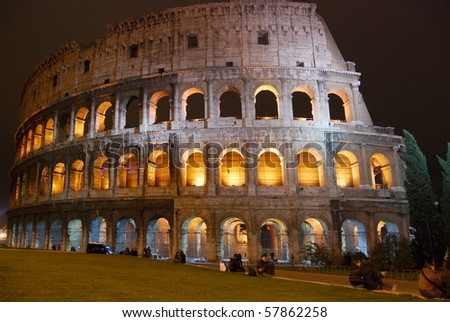 Rome Colosseum by night - stock photo