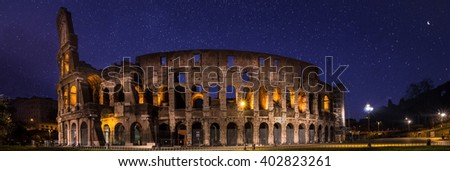 Rome Colosseum by night, Italy - stock photo