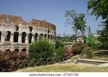 Rome Colosseum, from 'Parco del Celio' - stock photo