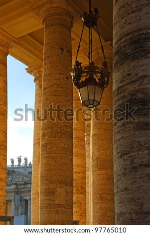 Rome, columns at Vatican square - stock photo