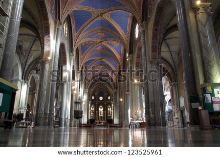 ROME - DEC 5: Interior view of Saint Mary above Minerva church on december 5, 2012 in Rome, Italy - stock photo