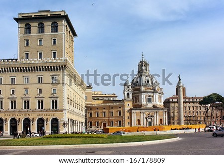 ROME - December 13: Piazza Venezia and the Church of the Most Holy Name of Mary at the Trajan Forum in Rome, Italy, on December 13, 2013 in Rome, Italy