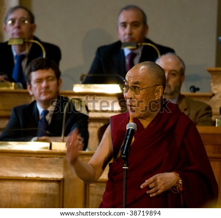 ROME - FEBRUARY 9 : Dalai Lama get the citizenship ab honorem from city of Rome on  February 9, 2009 in Rome, Italy. - stock photo