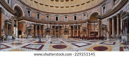 ROME-FEBRUARY 6: The interior of the Pantheon on February 6, 2014 in Rome, Italy. The Pantheon is a building in Rome, Italy to all the gods of ancient Rome rebuilt by the emperor Hadrian about 126 AD.