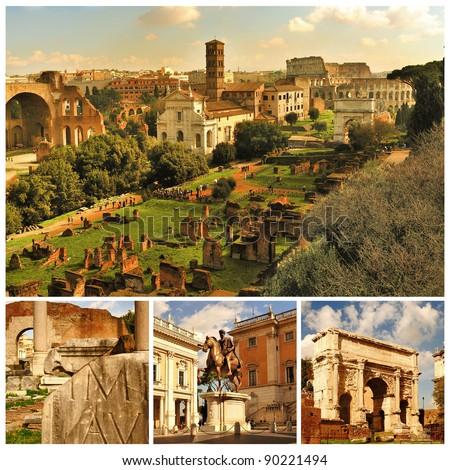 Rome. Forum Romanum. Collage - stock photo