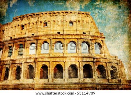 Rome - great italian landmarks vintage series - stock photo