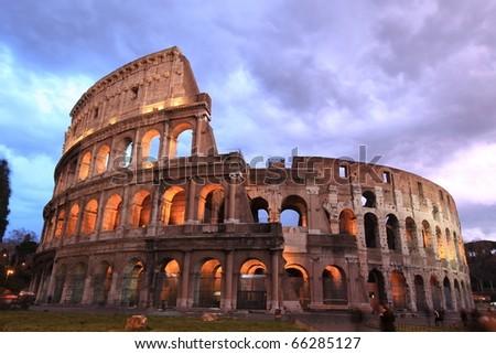 Rome: illuminated Colosseum at twilight - stock photo
