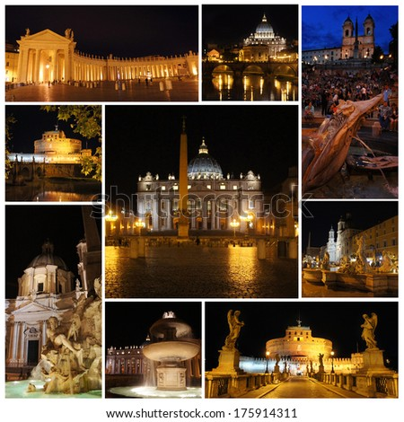 Rome in the night. Piazza Navona, Vatican, Spanish Steps, castle and bridge Saint Angel - stock photo
